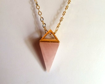Necklace, Gemstone, Rose Quartz Pyramid in Gold Necklace