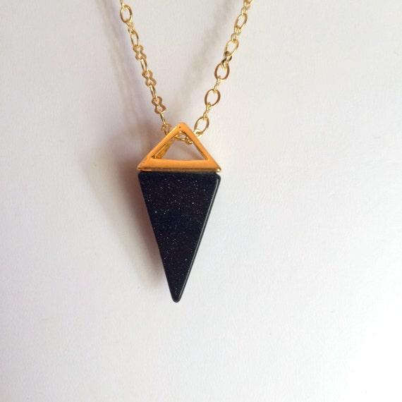 Necklace, Gemstone, BlueStone Pyramid in Gold Necklace