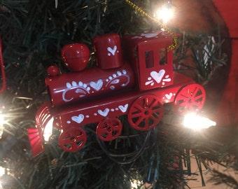 Scandinavian red metal train ornament
