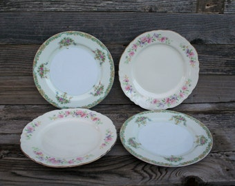 Set of Four Shabby Chic / Cottage Chic China Noritake and Homer Laughlin Dinner Plates