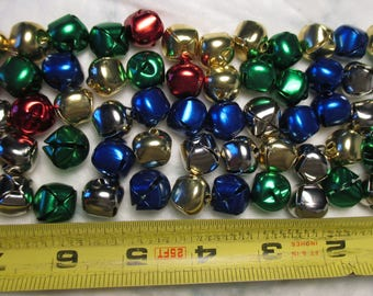 "60 Metal Colored COLORFUL 1/2"" BELLS Christmas Or Easter Or  holiday craft lot"