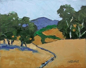Impressionist Oak Trees & Eucalyptus SUMMER HILLS Painting Plein Air Landscape California Art Lynne French o/c 8x10