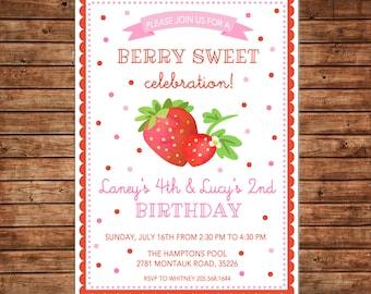 Girl Birthday Watercolor Strawberry Berry Sweet Summer Scallop Confetti Invitation - DIGITAL FILE