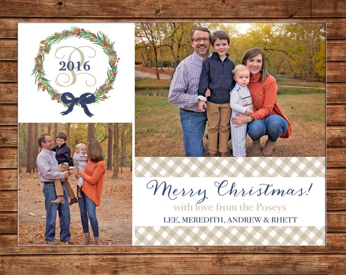 Christmas Holiday Photo Card Gingham Watercolor Wreath Monogram - Can Personalize - Printable File or Printed Cards