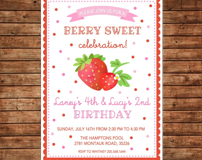 Girl Birthday Watercolor Strawberry Berry Sweet Summer Scallop Confetti Invitation - DIGITAL FILE