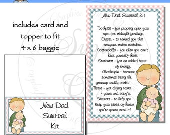 New Dad Survival Kit includes Topper and Card - Digital Printable - Immediate Download