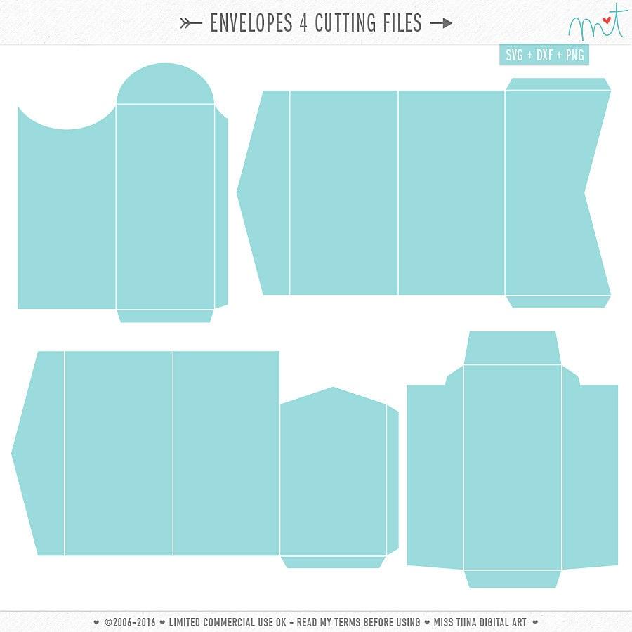 Download Envelopes 4 SVG DXF Digital Die Cut Files for cutting