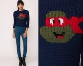 80s Sweater NINJA TURTLES Comic Cartoon RAPHAEL Teenage Mutant Ninja Turtles Novelty Jumper Knit Navy Blue 1980s Vintage Extra Small xs