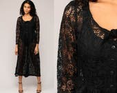 Lace Jumpsuit 90s Jumpsuit Dress Sheer Black Lace Wide Leg Pants Boho Goth Onesie Vintage Pantsuit Gothic Bohemian Button Up Large