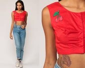 70s Crop Top CHERRY Shirt Red Blouse Rockabilly Tank Top 60s Boho Top Vintage Cropped Sleeveless Bohemian Extra Small xs