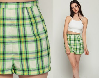 Plaid Shorts 70s Shorts High Waisted Retro Preppy Green 1970s Hipster Vintage Seventies Pin Up Checkered Hipster Off White Extra Small Xs