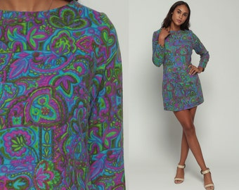 60s Mod Dress 70s Floral Print Mini Hippie PSYCHEDELIC 1970s Mod Shift Boho Vintage Tunic Green Purple Long Sleeve Bohemian Large