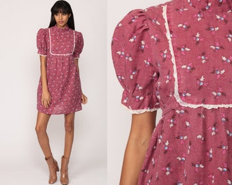 Floral Babydoll Dress 70s Puff Sleeve Mini Boho Empire Waist Mod 1970s BOHEMIAN Hippie Purple Bib Vintage Minidress High Neck Medium