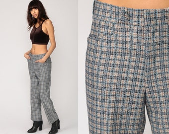 Plaid Trousers 70s BELL BOTTOM Pants Hippie High Waist Flared Boho 1970s Checkered Print Vintage Bohemian Blue Golf Large 30