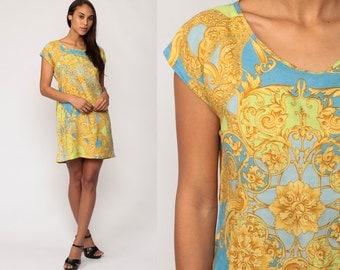 Grunge Mini Dress 90s BAROQUE Print Shift Blue Gold 1990s Cap Sleeve Vintage Boho Minidress Summer Bohemian Medium