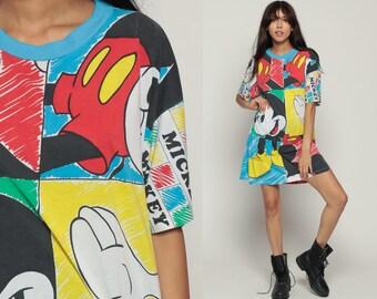 Mickey Tshirt Dress MICKEY MOUSE Pajama Dress Walt Disney Night Shirt Sleep Dress Cartoon 80s T Shirt Mini Vintage Nightgown Medium Large xl