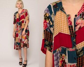PATCHWORK Dress 90s Grunge Midi Boho Floral Print Hippie Babydoll 1990s Vintage High Waist Bohemian Button Up Short Sleeve Large