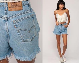 Levis Shorts Cut Off Shorts 80s Denim Shorts Levi Cutoff Jean Shorts Mom FRAYED High Waisted Cutoffs 1980s Vintage Extra Small xs