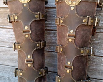 Olive Green and Brown Leather Shin Guards, Shinguards or Gaiters with Antiqued Brass Hardware and Ethiopian Shield Pair 2