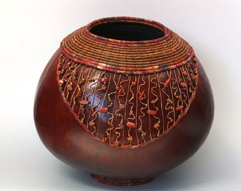 Brown Gourd with Copper Wire and Rock Beads -Item 639 by Susan  Ashley