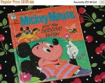 SALE- Tell-A-Tale Book, Walt Disney, Mickey Mouse and the Second Wish, 1973 First Edition