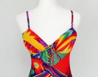 Vintage jaren negentig Lace Up badpak ééndelig tropische afdrukformaat 7 of 8