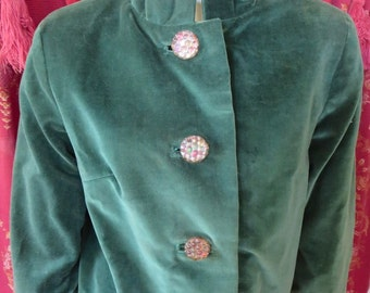 1950s Green Velvet Bolero Jacket Silk Print Lining Big Raspberry Buttons 38 Bust