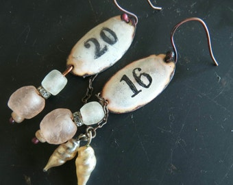 Before Now. Rustic, romantic enamel dangle earrings in white, pink and copper by Vintajia Adornments
