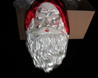 "Santa  Claus  Face/Head  Painted Blown Glass Christmas Ornament 8"" Tall  Vintage St.Nick"