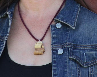 michigan necklace - michigan jewelry - state necklace - wine cork necklace - michigan gift - michigan pendant - wine lover gift - going away