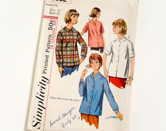 Vintage 1960s Womens Maternity Size 10 Top Blouse Simplicity Sewing Pattern 6062 Complete / bust 31 / Let-Out Side Seams, Long Short Sleeves