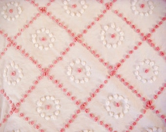 Pink and White Candlewick Pops Handmade Vintage Cotton Chenille Bedspread Fabric 18 x 24 Inches