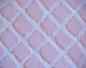 Baby Pink with White Plush Lattice Vintage Cotton Chenille Bedspread Fabric 22 x 22 inches
