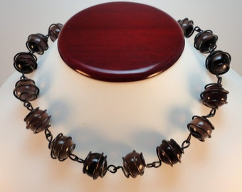 60s Vintage Caged Purple Glass Orbs Beads necklace choker