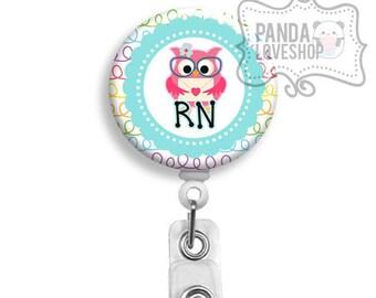 Nurse Badge Holder, Rainbow Owl Nurse Badge Reel, Retractable Badge, Nurse Lanyard ID Holder