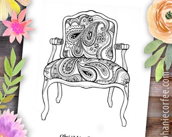 Paisley Chair - Instant Digital Download