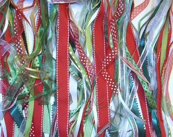 RIBBON ASSORTMENT - 20 Yards, CHRISTMAS Inspired Colors - red, white, green, multi colored: scrapbooking, cards, craft, sewing, trim