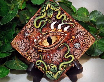 Ooak Polymer Clay Dragon's Eye Brown 3 Dimensional Wall Hanging Plaque #30 With Genuine Swavorski Crystals Fantasy Art Home Decor