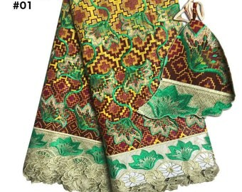 2017 African Lace Fabric 6 Yards Nigerian Cotton Guipure Wax Fabric with Stone Embroidered Tissu Africain Guipure Wax Fabric