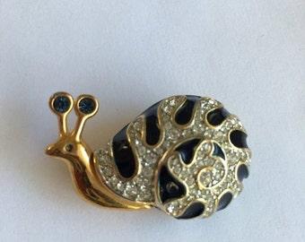ON SALE Vintage Swarovski Snail Pin Enamel Crystals Swan Mark