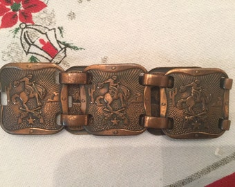 Vintage Chunky Copper Bucking Bronco Horse Rodeo Wide Bracelet