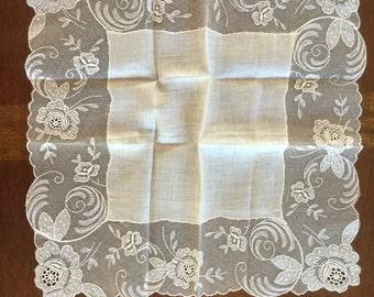 Vintage White Lace Floral Wedding Hankie Handkerchief