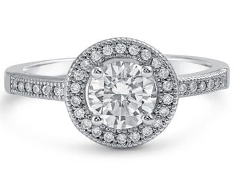 14k White Gold Round Diamond Engagement Ring with Halo