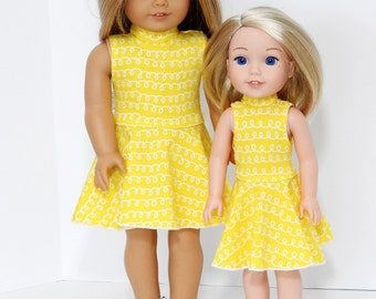 18 Inch Doll Clothes, AG Doll Clothes,  Handmade Yellow Skater Dress for American Girl Doll