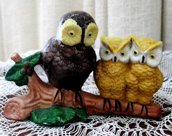 Vintage Owl Figurines Porcelain  Three On A Branch Brown Gold Green 1970s