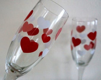 Vintage Red Heart Champagne Glasses Flutes Wedding Toast Glasses