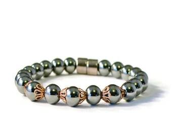 Black High Power Magnetic Hematite Bracelet for Pain