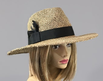Katy, womens straw hat, wide brim fedora with feathers, millinery hat, seagrass straw