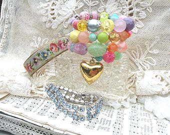 mix bracelet stack bangle assemblage rhinestone coil romantic cottage chic petite point embroidered