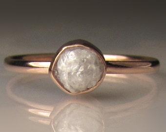 Raw Diamond Engagement Ring, 14k Rose Gold Rough Diamond Ring, White Rough Diamond Ring